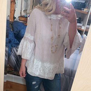 Country Chic Zac & Rachel Lace & Striped Blouse